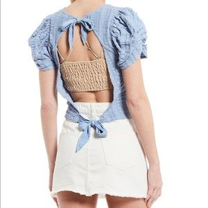 Free People star struck puff sleeve open back top